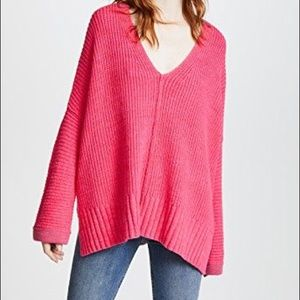 Free people pink thick chunky sweater size large